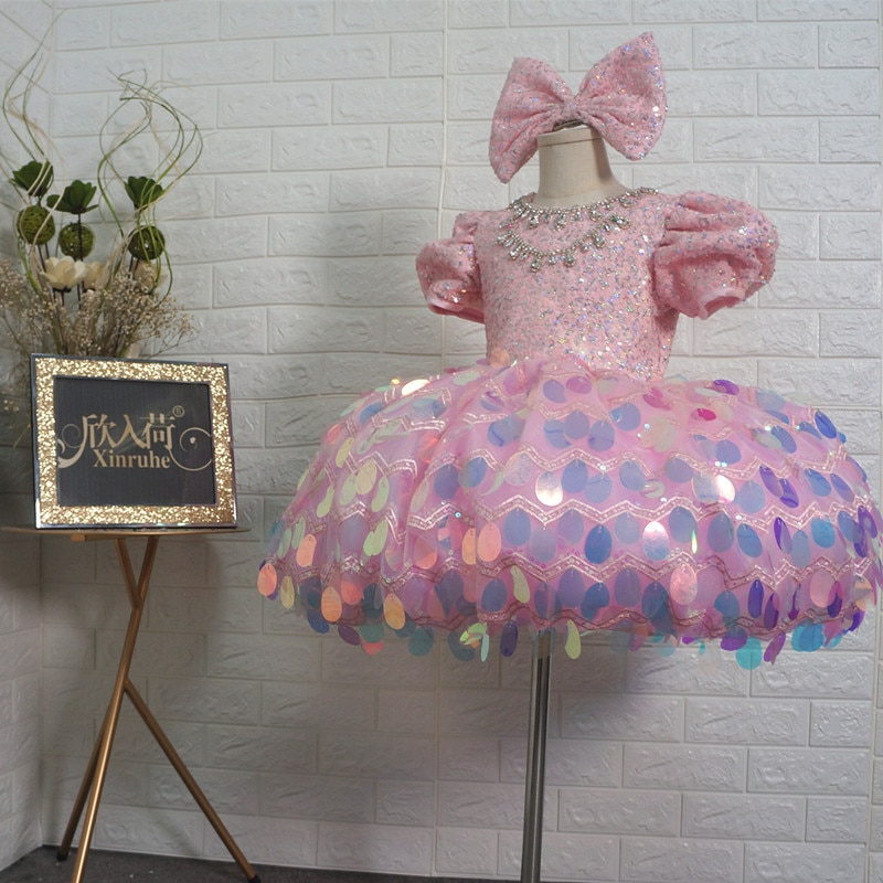 Flower Girls Pink Princess Ball Gowns Dresses Sequin Short Dresses Girls Party Dresses Pageant Ball Gowns Custom Beading Shinny
