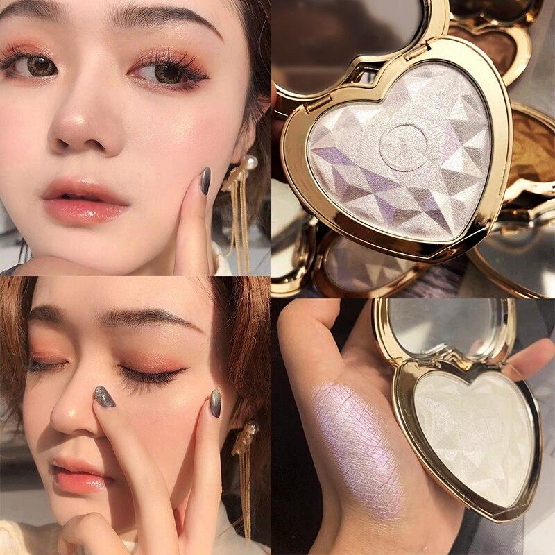 HUDAMOJI Face Makeup Heart-shaped Diamond High-gloss Eye Shadow Powder cake Brighten Shimmer pearl repair Highlighter TSLM1