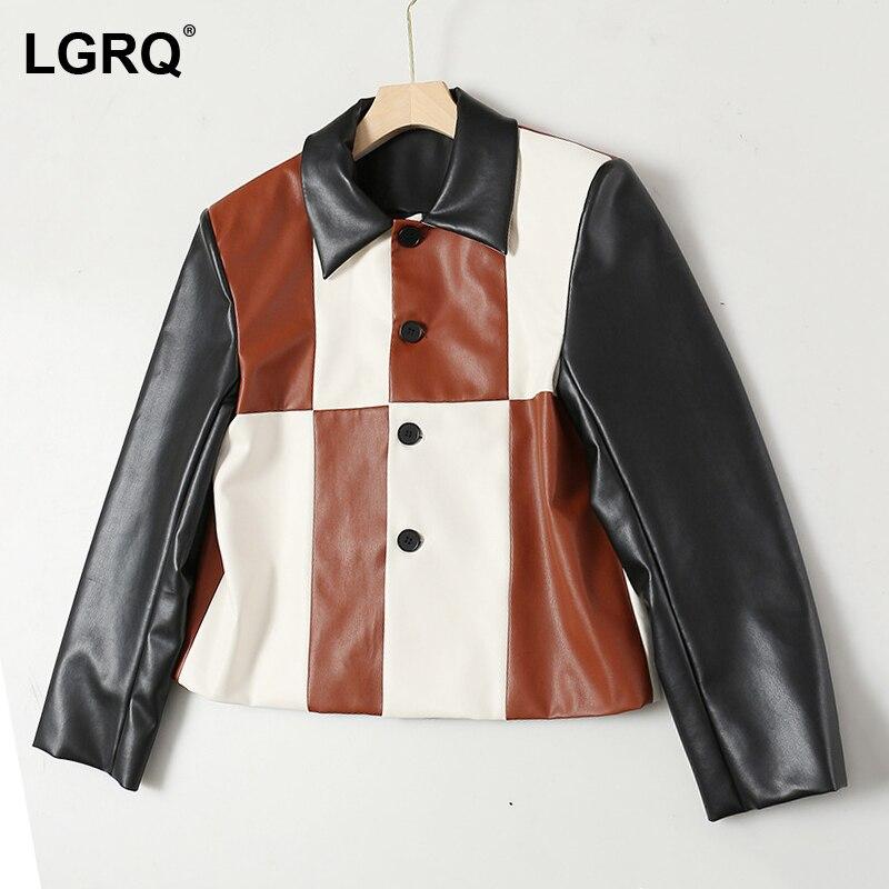 [LGRQ] سترة جلد صناعي واحدة الصدر سترة جديدة التلبيب طويلة الأكمام المرأة معطف الموضة المد الربيع الخريف 2021 19D5179