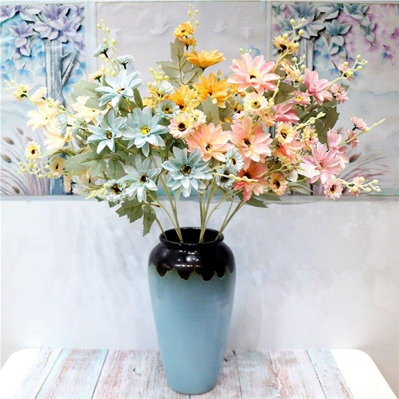 Único boda Artificial flores Dahlia simulación Dahlia falsa flor suave vestido nórdico, decoración de la boda flores artificiales