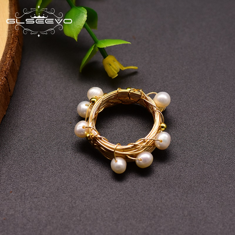 GLSEEVO, anillos de perlas blancas de agua dulce Natural para parejas, anillo de boda hecho a mano, joyería de moda, diseñador de personalidad GR0193K