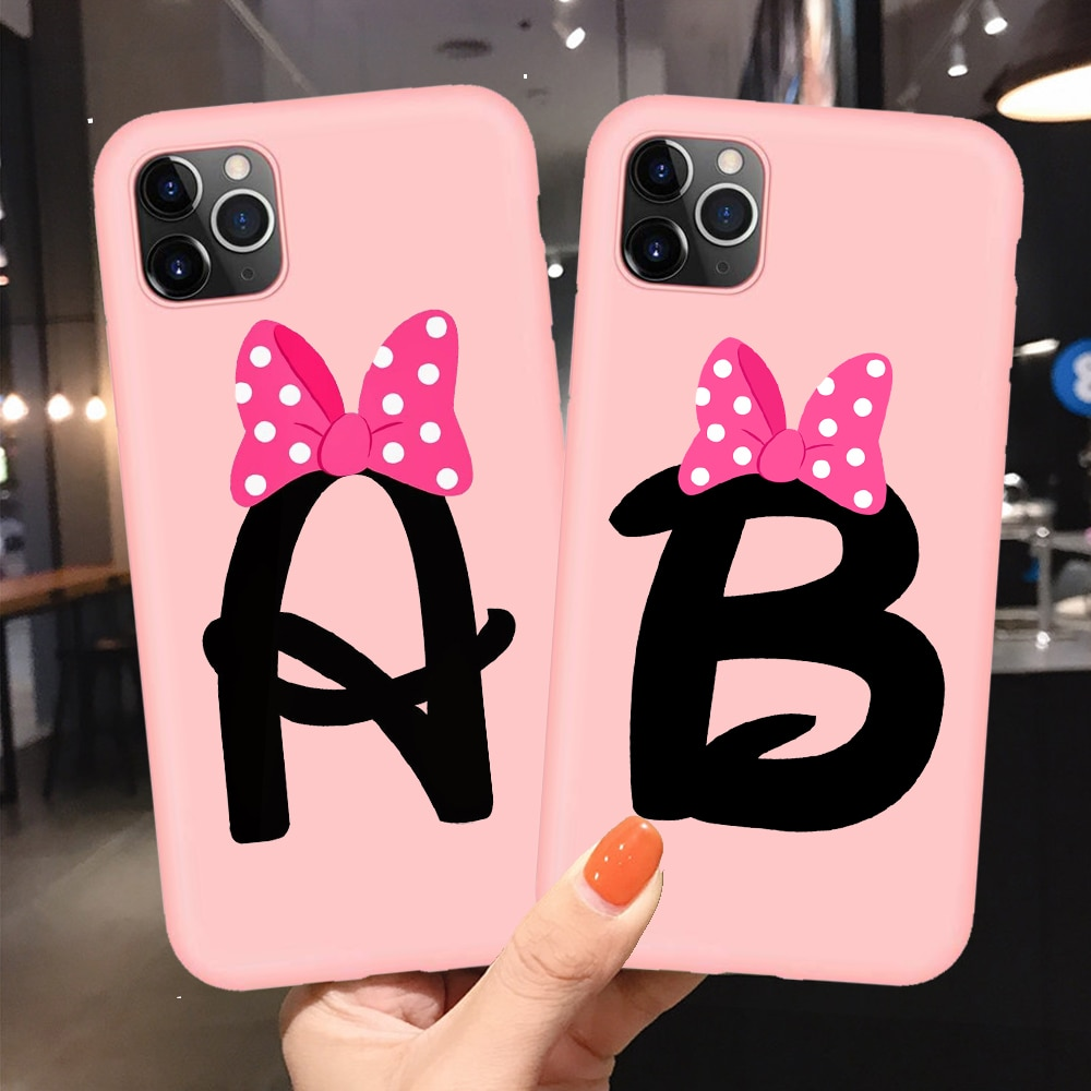 Мягкий ТПУ чехол для телефона с надписью Monogram A B C D розовый бант Чехол Для Телефона iphone 11 Pro XR X XS Max 8 7 6 6S Plus 5S SE