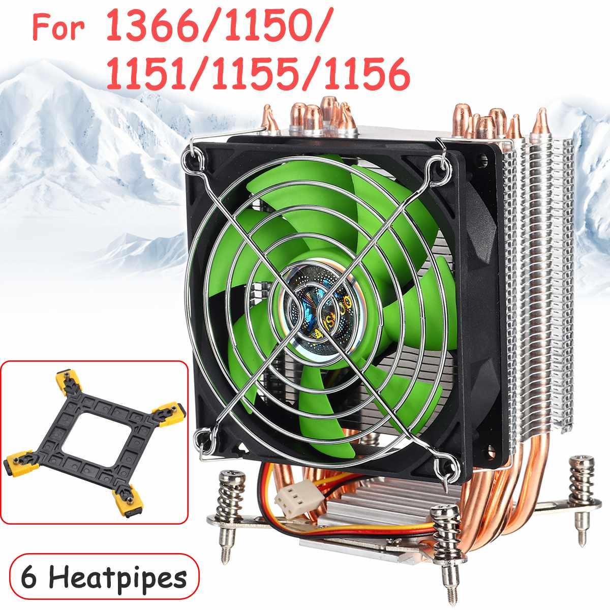 3Pin 6 tubos de calor ordenador CPU enfriador de refrigeración 90cm ventilador de refrigeración radiador disipador de calor refrigerador para reproductor de juegos de placa base 115X1366