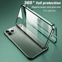 Роскошный чехол для телефона IPhone X XR XS 6 6S 7 8 11 12 Plus Mini SE Pro MAX 2020 360, двойной стеклянный чехол, магнитный поглощающий чехол