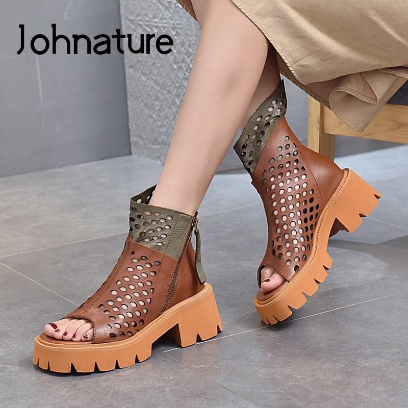 Johطبيعة-صندل نسائي من الجلد الطبيعي ، أحذية صيفية ، أحذية ترفيهية ، ألوان مختلطة ، ريترو ، سحاب ، مجوف ، صناعة يدوية ، 2021