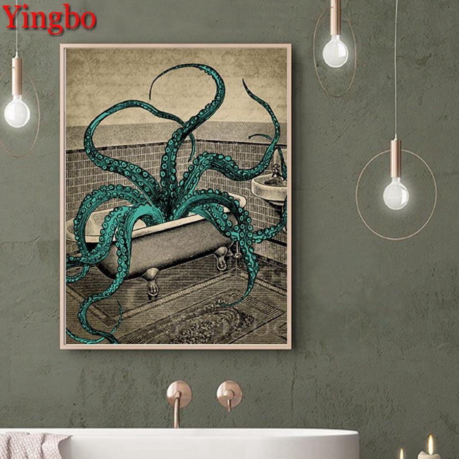 Bentan diamante bordado octopus banheiro diy pintura diamante ponto cruz 5d quadrado redondo diamante mosaico estilo nórdico decoração
