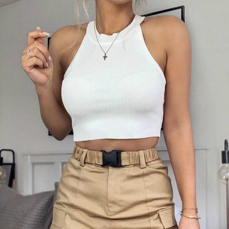 Verão 2020 das mulheres sexy casual magro sem mangas regatas colete sólido cor colheita topo para senhoras colete de fitness roupas femininas topos