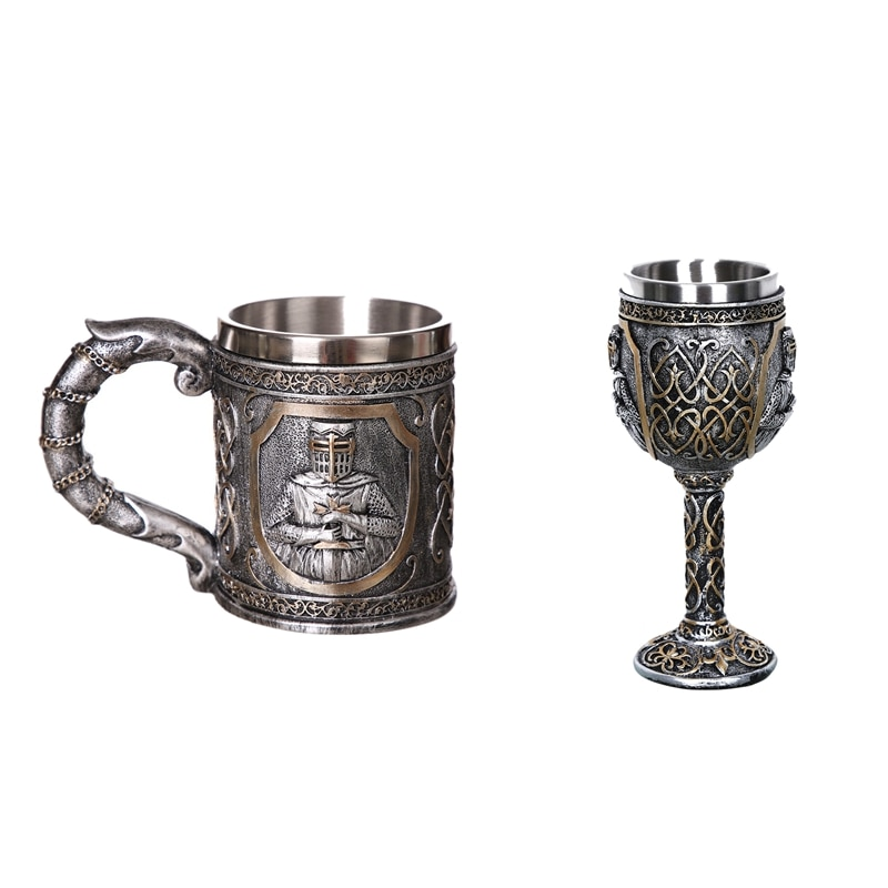 2 قطعة القرون الوسطى تيمبلار الصليبية فارس القدح دعوى من درع فارس الصليب البيرة شتاين تانكارد فنجان القهوة ، القدح و كأس النبيذ