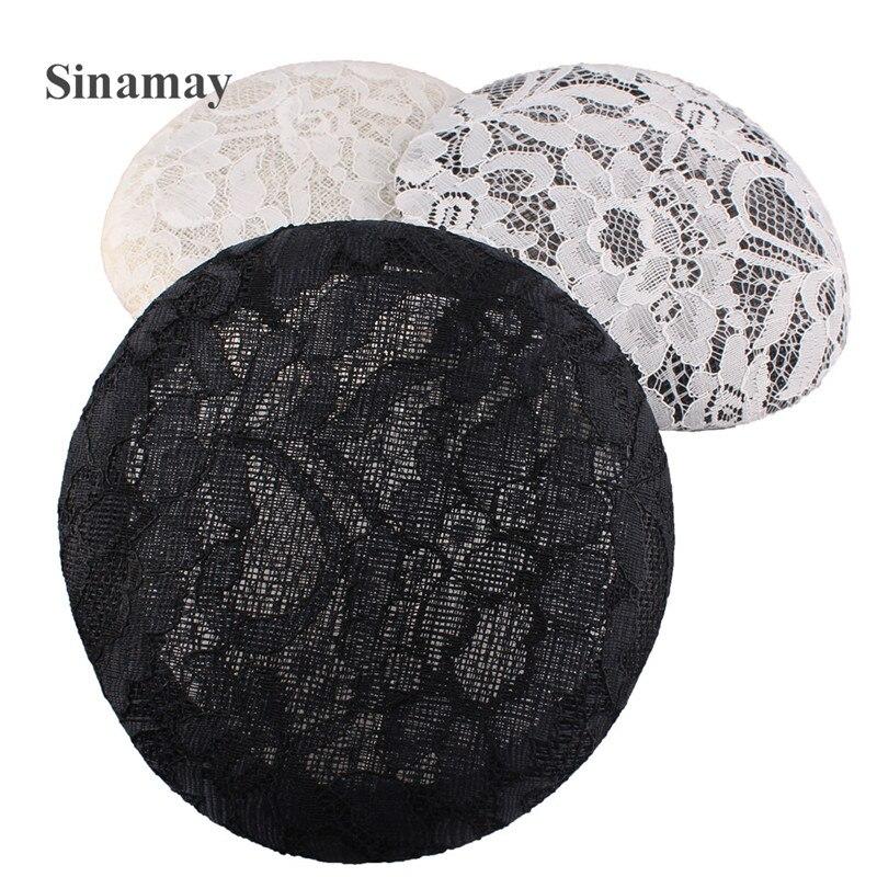 15CM ronda tocado de encaje sombrerería Base Sinamay Fascinator sombrero Base de hacer materiales para tocados accesorios para el cabello 10 unids/lote