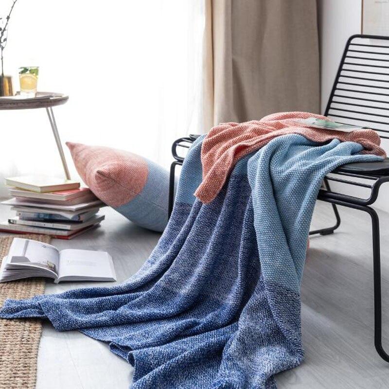 بطانية قطنية 130 × 170 سنتيمتر ، مقاس 51 × 67 بوصة ، محبوكة للمنزل والمكتب والسفر والسيارة والأريكة والسرير