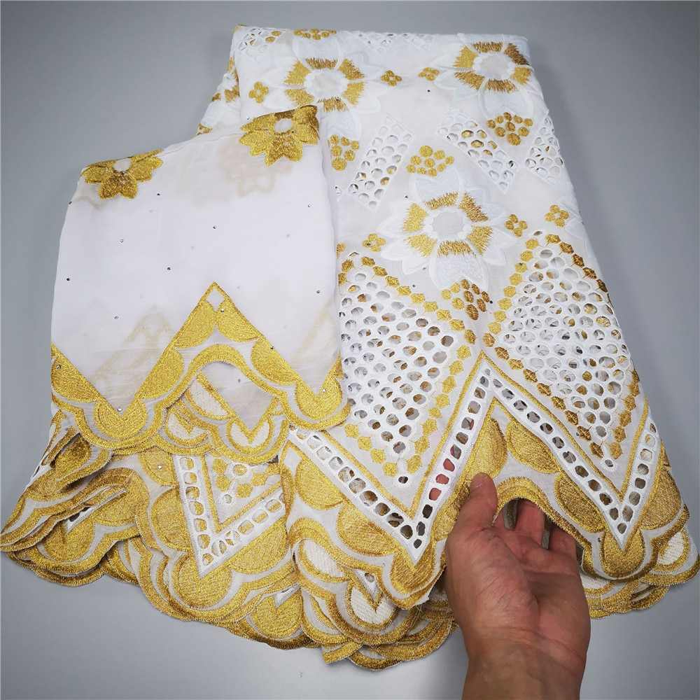 5+2 Yard With Scarf Fabric Latest with stones Embroidery African 100% cotton Swiss Voile Lace Popular Dubai Style yc-130