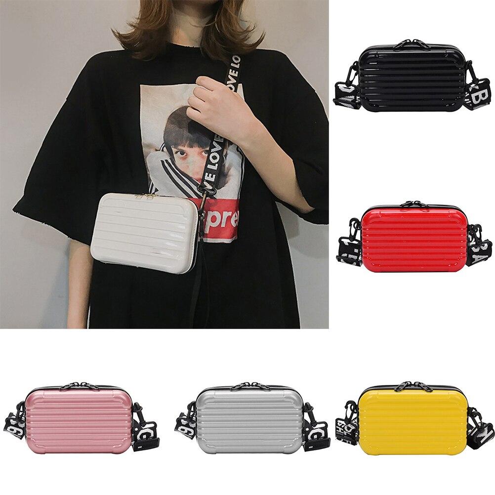 Mini maleta con forma de bandolera para mujer, pequeña bolsa de equipaje a la moda, bolso de mano para chica, bolso de mano con correa de letras anchas, bolso cruzado