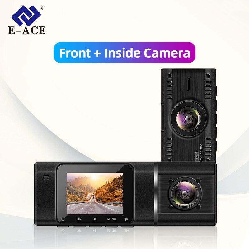 E-ACE cámara de salpicadero DVR para coche Full HD 1080P Mini grabadora de vídeo Dashcam dos cámaras frontal + registrador automático interno cámara grabadora para coche