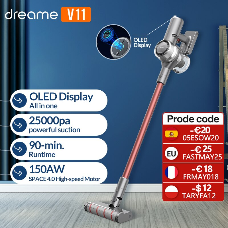 aliexpress.com - Dreame V11 Handheld Wireless Vacuum Cleaner OLED Display Portable Cordless 25kPa All in one Dust Collector floor Carpet Cleaner