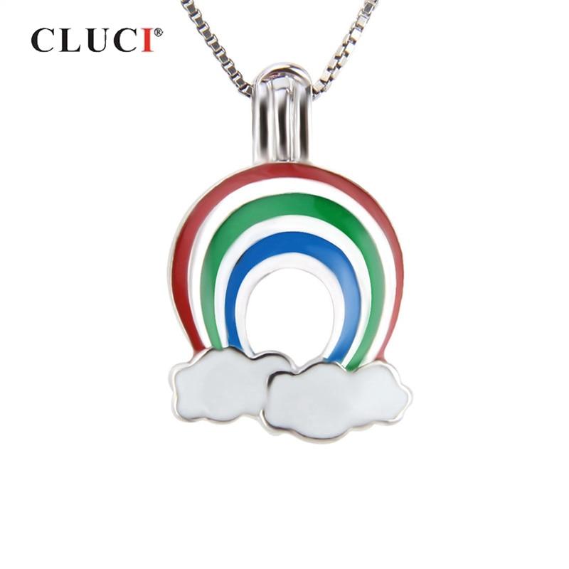 CLUCI, colgante de Plata de Ley 925 con diseño de arcoíris y nubes, joyería de regalo para mujer, medallón de plata auténtica 925 con jaula de perlas SC223SB