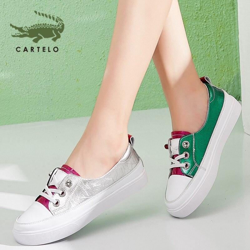 CARTELO zapatos de mujer de moda zapatos planos poco profundos coreanos transpirables pequeños zapatos blancos zapatos de deportes salvajes mujeres