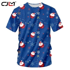 CJLM Men's New 3D Printed Santa Claus Best Selling T Shirt 6XL Personality Large Size Christmas O Neck Tshirt