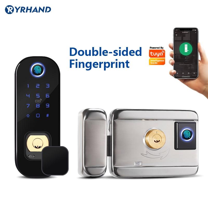 Promo Anti- theft intelligent keyless electronic security handle smart outdoor tuya WiFi  double sided  fingerprint door lock