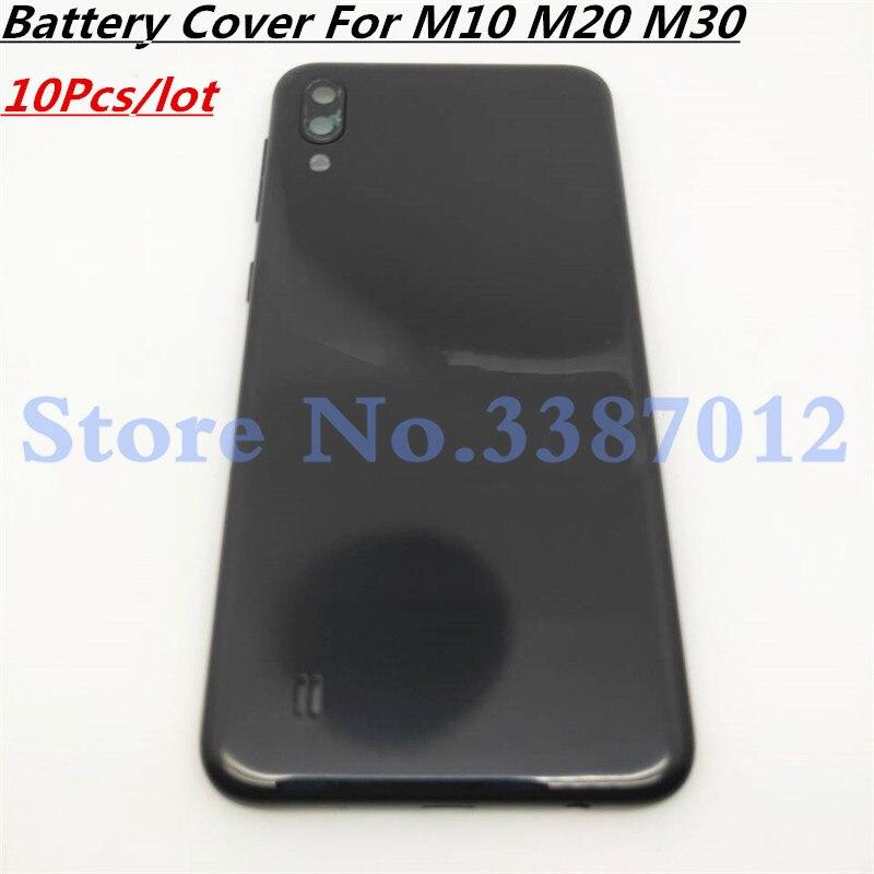 10 Uds. Nueva cubierta de batería para Samsung Galaxy M10 M20 M30 cubierta trasera de batería cubierta trasera de la puerta con cristal de la Lente de la Cámara + botones laterales