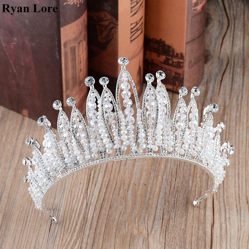 Kristall Hochzeit Braut Wunderschönen Kristall Tiaras Und Kronen Stirnband Kopfschmuck Pageant Haar Schmuck Royal Königin Diademe