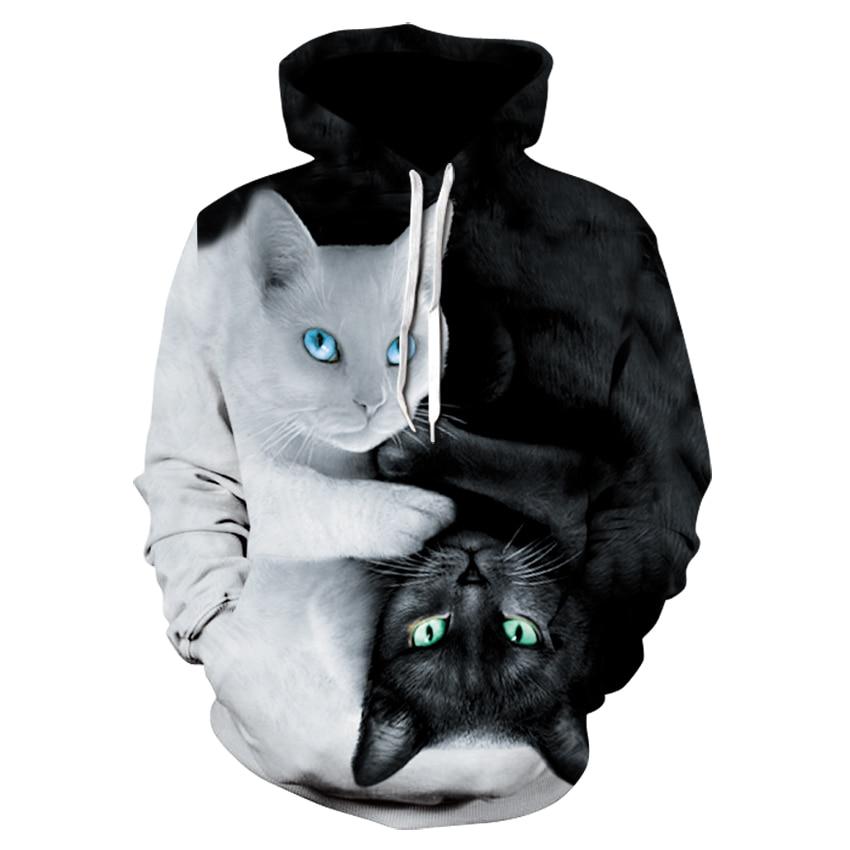 Sudadera con capucha de mujer linda gato blanco gato negro estampado en 3D 2020 primavera y otoño para hombres y mujeres de calle sudaderas con capucha de skateboard
