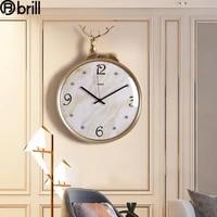 nordic light luxury simple wall clock metal deer head art silent wall clock creative living room home decoration watches 50