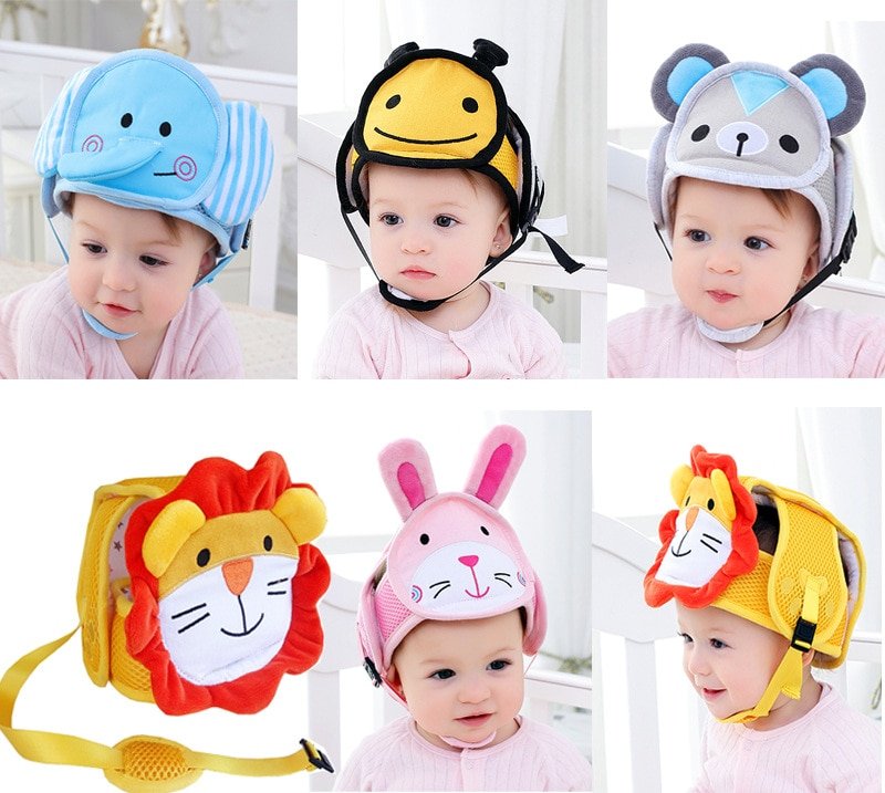 GAMPORL Baby Anti-drop Head Protective Cap Baby Toddler Crash Cap Cartoon Animals Anti-fall Cap Soft Cotton Child Safety Helmet