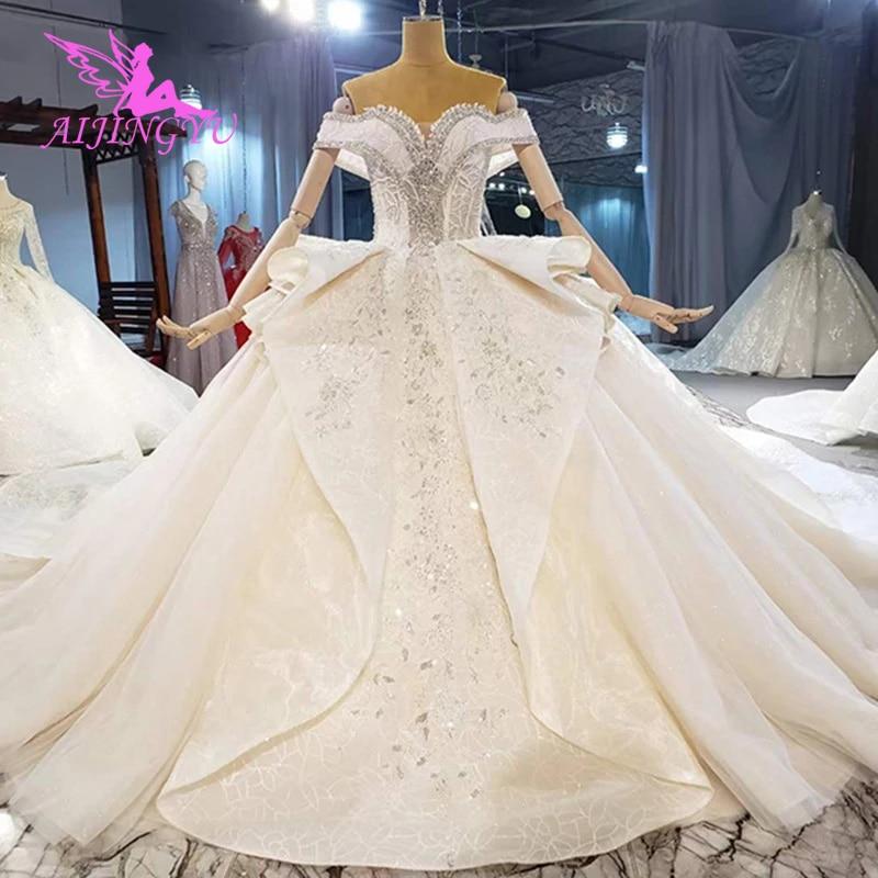 AIJINGYU-فستان زفاف طويل من التول في لبنان ، تنورة قابلة للإزالة ، عتيق ، مجموعة 2021