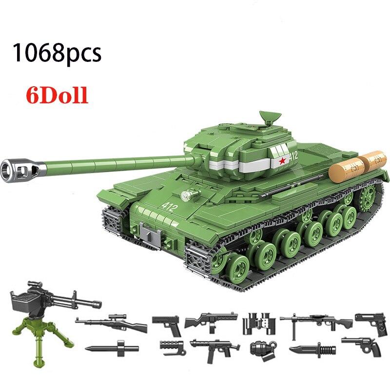 1068 шт Советская Россия IS-2M тяжелый танк строительные блоки военный WW2 Военный танк армейский солдат оружие Кирпичи игрушки для детей