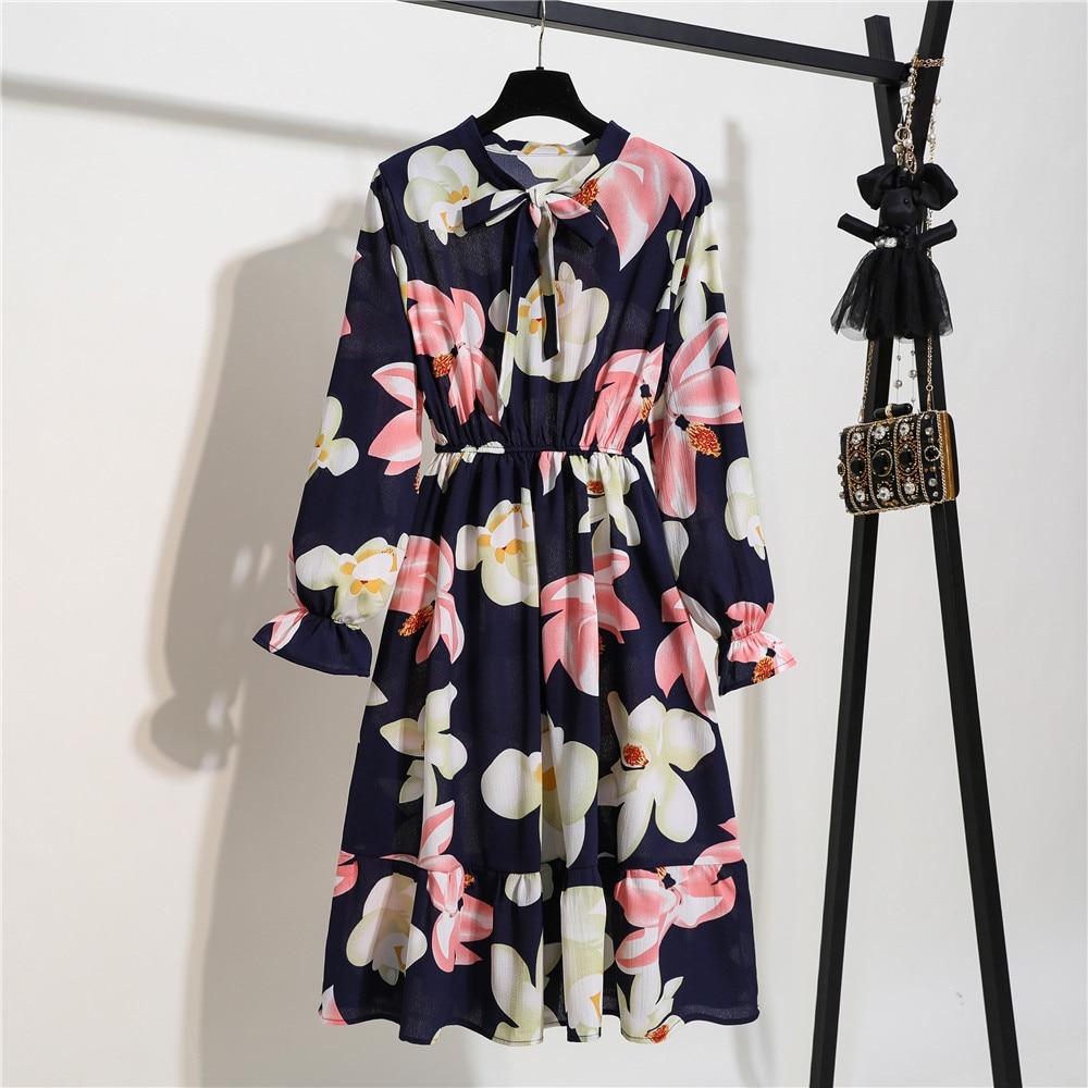 Korean Lady Midi Chiffon Dresses Vintage Bow Floral Print Dress Women Summer Spring Slim Elegant A Line Dress Party Cute Vestido
