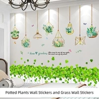 potted plants wall stickers diy green grass wall decals for living room bedroom nursery kitchen home decoration accessories