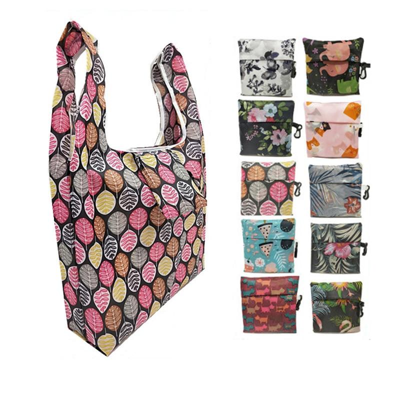 Bolsa de compras ecológica plegable para mujer, bolsa de almacenaje de alimentos portátil, bolsa reutilizable ecológica con impresión de puntos de Cactus