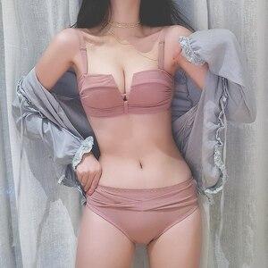 Sexy Drawstring Gathered Bra Set Adjustment Women Bra Panties Set Sexy Lingeire Underwear