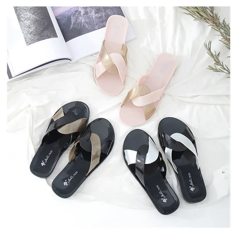 2021 Summer  Trendy Style Girls Slippers Pvc Crystal Women Shoes Comfortable Concise Jelly Girl Slipper