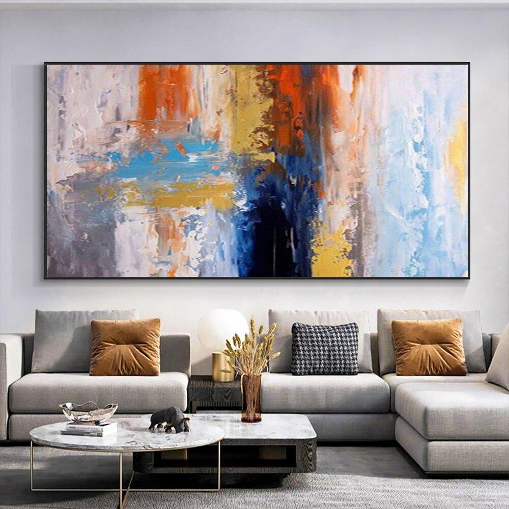Pintados à Mão sobre Tela Pintura a Óleo Decorativa da Parede Arte para Sala de Estar Abstrato Vermelho Azul Pintura Moderna Decoração Casa 100%