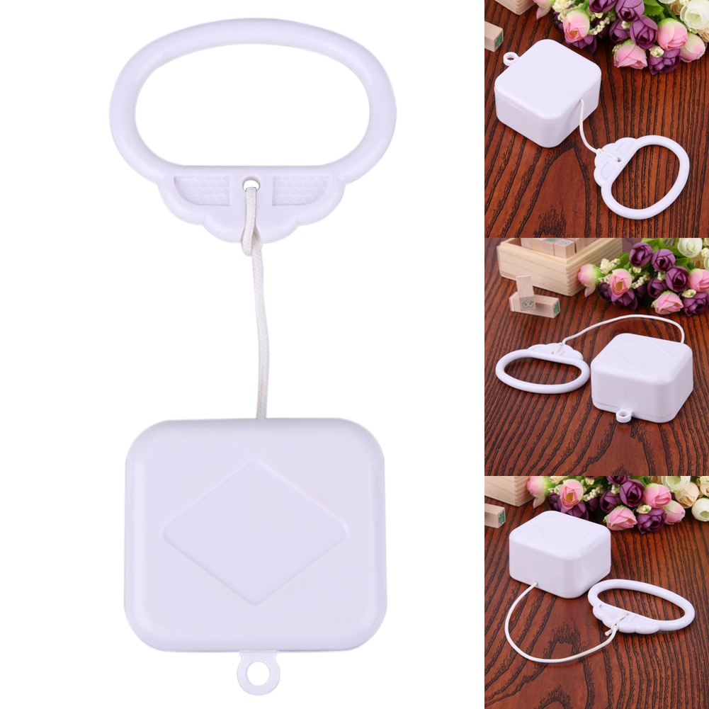 Pull Ring Music Box Bed Bell White ABS Plastic Clockwork Cord Music Box Baby Infant Kids Bed Bell Ra