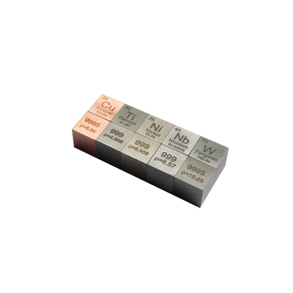 Tungsten Cube Copper Cube Titanium Cube Niobium Cube Nickel Cube One Set 5 PCS Cu Ti Nb Ni W Density Cube 10X10X10mm