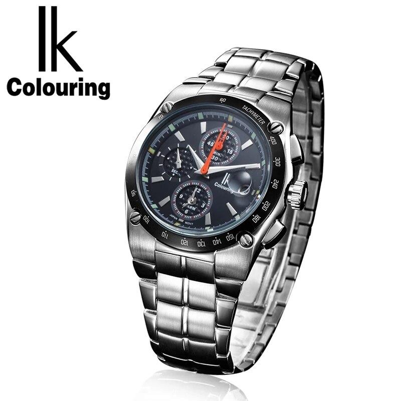 Часы Reloje IK Мужские кварцевые, брендовые Роскошные модные деловые полностью стальные водонепроницаемые спортивные наручные часы с автомати...