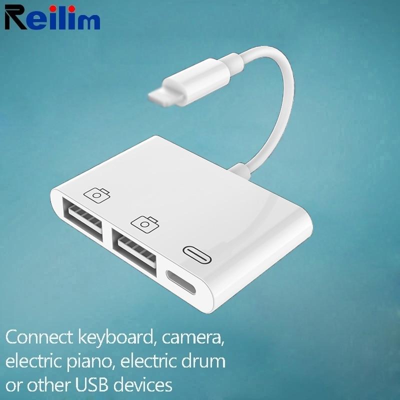 OTG USB A Adaptador de rayo convertidor MIDI Teclado de Piano adaptador de cámara para iPhone 11 ipad XS max XR 8X8 7 6s 6 5 5s SE iOS 13