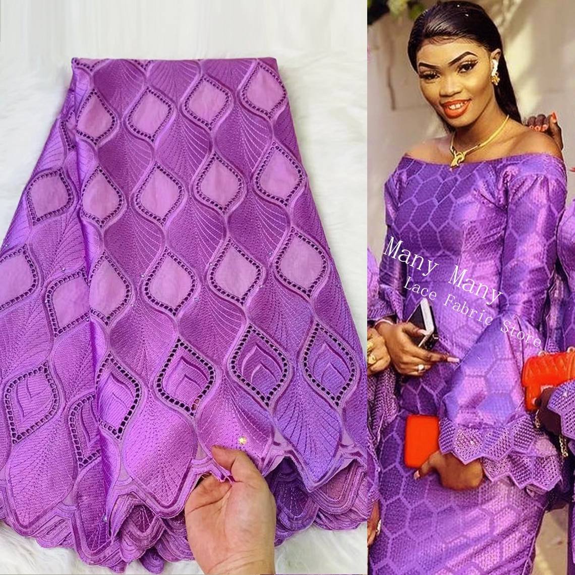 100% Cotton Top Quality Swiss Voile With Stones Congo Purple Color African Evening Party Wedding Dress Dry Laces Cord Fabrics