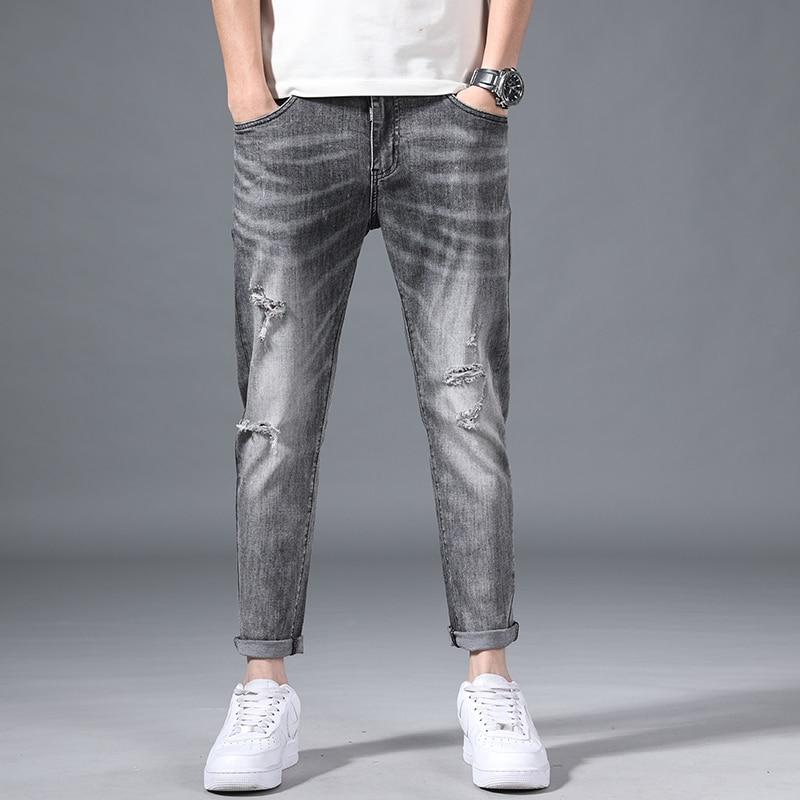 2021 Four Seasons Smoke Gray Ripped Hole Scratched Retro Distressed Jeans Men's Slim Feet Straight Korean Fashion Long Pants