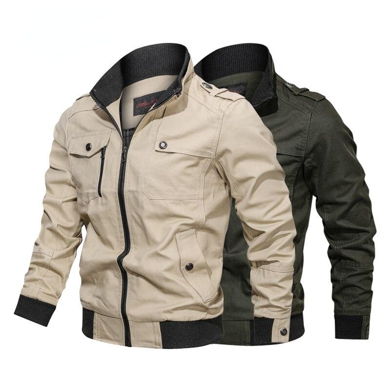 Мужская ветровка в стиле милитари, хлопковая куртка-бомбер в стиле милитари, джинсовая куртка-бомбер в стиле милитари, 4х, весна-осень 2021