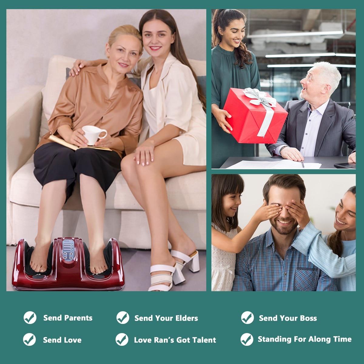 220V Electric Heating Foot Body Leg Massager Shiatsu Kneading Roller Vibrator Machine Reflexology Calf Leg Pain Relief Relax enlarge