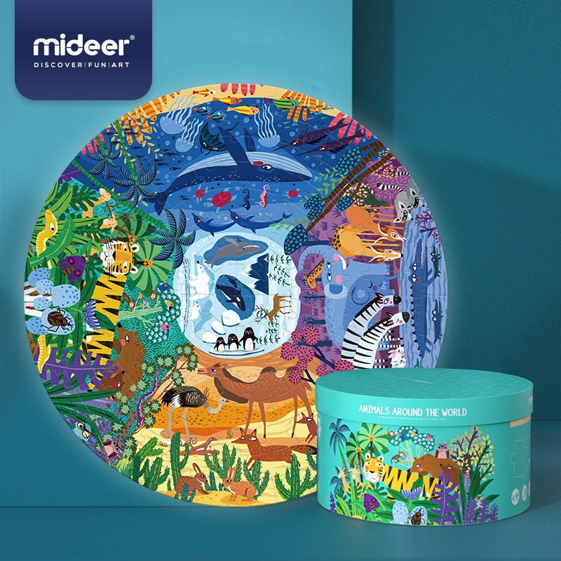 Animal puzzle in a round frame in an elegant package