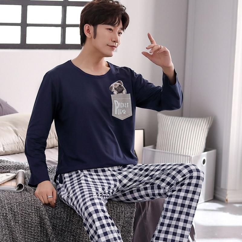 2021 весна осень мужчины хлопок пижамы длинный рукав мужской пижама комплект мужские длинные брюки пижамы для мужчин новинка одежда для сна костюм домашняя одежда