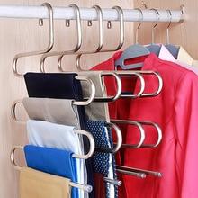 Cintres de rangement en acier inoxydable   Cintres à 5 couches en acier inoxydable, cintres de rangement de pantalons en forme de S, support de rangement de vêtements, support de stockage à multicouches cintre de tissu