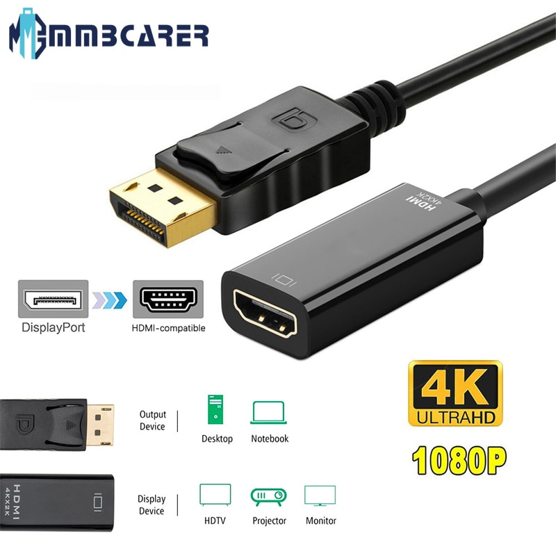 1080P DP To HDMI Adapter Display Port To HDMI Display Port Male To Female Converter Cable Adapter fo