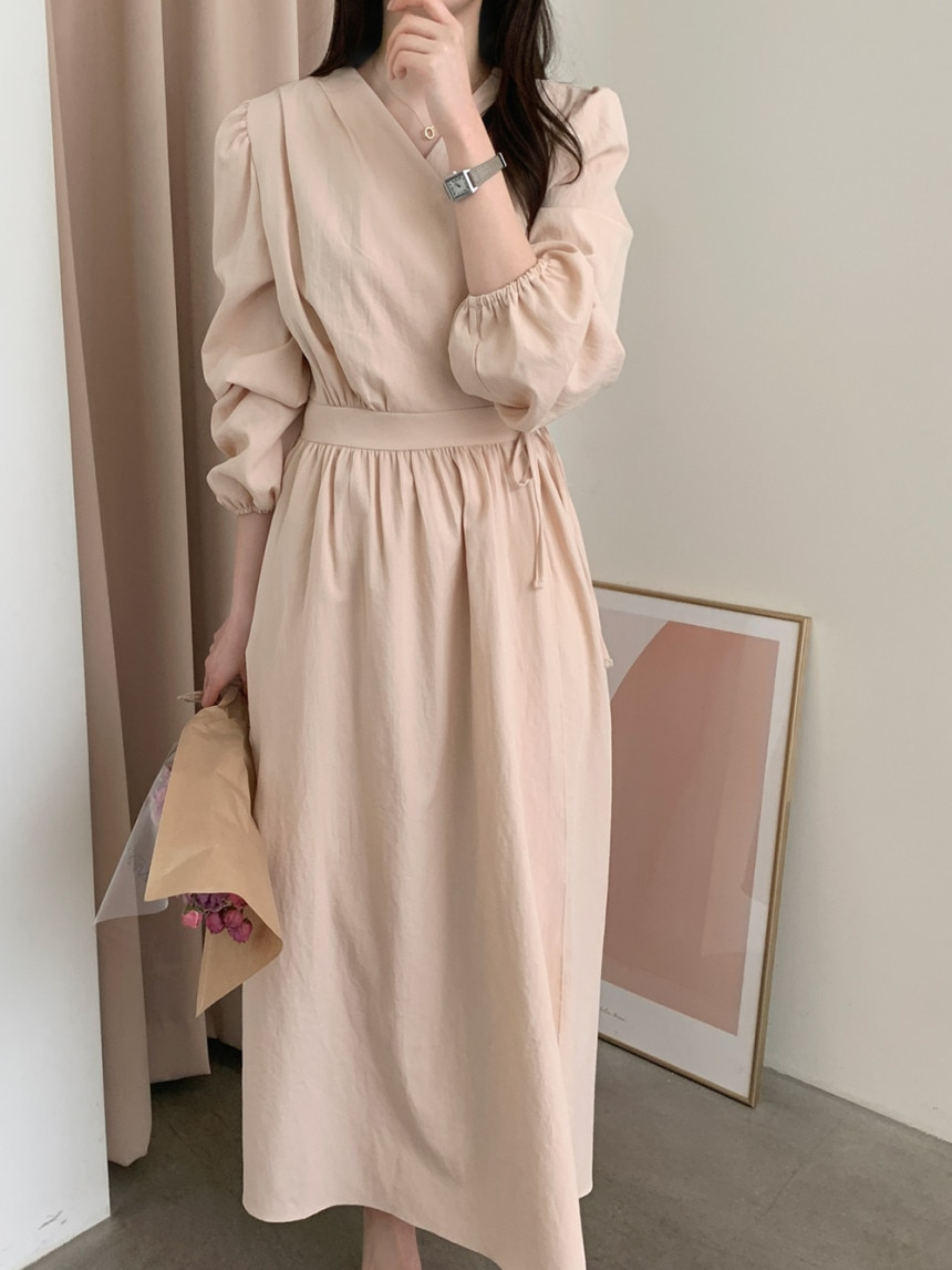 Korean Chic Minimalist Solid Color Lace-up Waist Slimming Mid-Length Fairy Long Sleeve V-neck Elegan