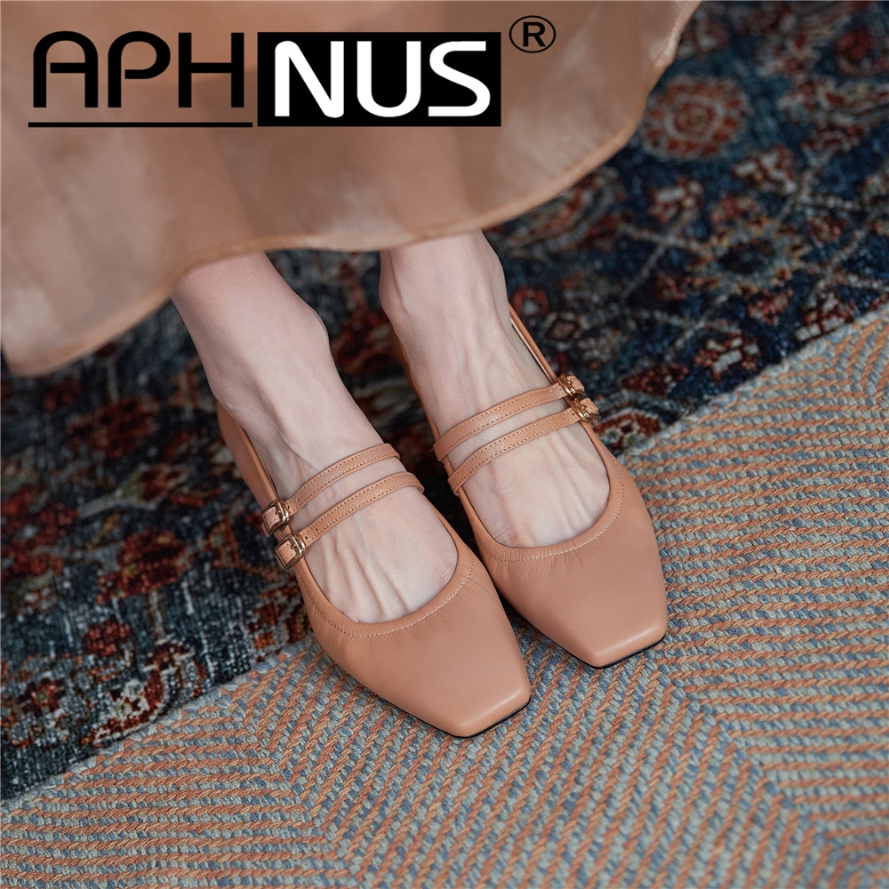 APHNUS Womens Shoes Mary Janes Rough Thick Mid High Heels Pumps Buckle Pleated Woman 2021 Shoes For Women New
