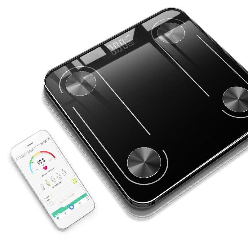 Balanza electrónica de cuerpo de carga USB Escala de grasa de piso de vidrio inteligente LED Digital BMI equilibrio de peso boriatric baño Bluetooth Sca